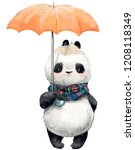 little panda with umbrella | Shutterstock . vector #1208118349