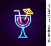 cocktail neon sign. vector... | Shutterstock .eps vector #1208122420