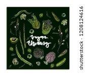 vegan thinking card template... | Shutterstock .eps vector #1208124616