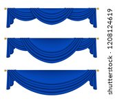 set of blue curtains to theater ... | Shutterstock .eps vector #1208124619