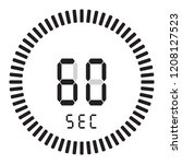 the digital timer 60 seconds  1 ... | Shutterstock .eps vector #1208127523