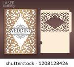 die laser cut wedding card... | Shutterstock .eps vector #1208128426