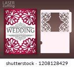 die laser cut wedding card... | Shutterstock .eps vector #1208128429