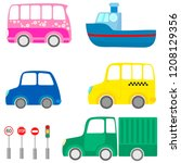 collection of cartoon transport ... | Shutterstock .eps vector #1208129356
