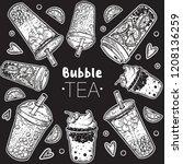bubble tea hand drawn... | Shutterstock .eps vector #1208136259