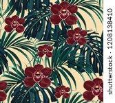seamless pattern  burgundy... | Shutterstock .eps vector #1208138410