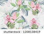 seamless bright artistic... | Shutterstock .eps vector #1208138419