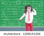 education concept with funny... | Shutterstock . vector #1208141206