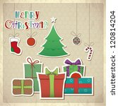 Retro Greeting Card With Gift...