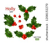 realistic image set of holly ... | Shutterstock .eps vector #1208152270