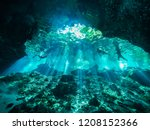 Small photo of Cenote scuba diving, underwater cave in Mexico