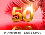 gold isolated number 50 on red... | Shutterstock . vector #1208152993