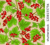 red currant pattern | Shutterstock .eps vector #1208155756