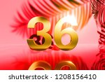 gold isolated number 36 on red... | Shutterstock . vector #1208156410