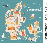 illustrated map of kingdom of... | Shutterstock .eps vector #1208159113