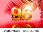 gold isolated number 96 on red... | Shutterstock . vector #1208160289
