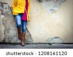 Woman Wearing Jeans  Yellow...