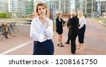 businesswoman looking at camera ... | Shutterstock . vector #1208161750