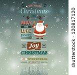 christmas vintage greeting card. | Shutterstock .eps vector #120817120