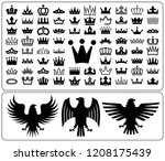 set of crowns and eagle rampant.... | Shutterstock .eps vector #1208175439
