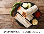 mexican popular grilled burrito ... | Shutterstock . vector #1208180179