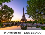 view of eiffel tower and river... | Shutterstock . vector #1208181400