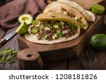 homemade minced beef tortilla ... | Shutterstock . vector #1208181826