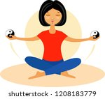 a girl meditates in the lotus...   Shutterstock .eps vector #1208183779