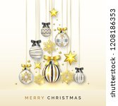 christmas tree background with... | Shutterstock .eps vector #1208186353