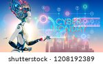 cyborg woman show hologram with ... | Shutterstock .eps vector #1208192389