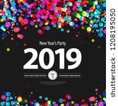 colorful circles new year... | Shutterstock .eps vector #1208195050