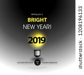 light bulb for new year... | Shutterstock .eps vector #1208196133