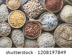 top view of natural cereal food ... | Shutterstock . vector #1208197849