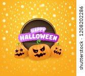 happy halloween web wooden... | Shutterstock .eps vector #1208202286