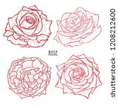 decorative rose flowers set ... | Shutterstock .eps vector #1208212600