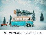 vintage merry christmas... | Shutterstock . vector #1208217100