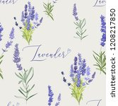 floral pattern with lavender.... | Shutterstock .eps vector #1208217850