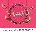 happy diwali design. vector... | Shutterstock .eps vector #1208220313