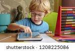 portrait of young blonde... | Shutterstock . vector #1208225086