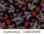 embroidery skeleton  rib cage... | Shutterstock .eps vector #1208234596