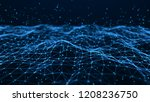 wave of particles. futuristic... | Shutterstock . vector #1208236750