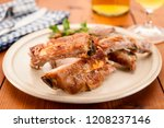 spareribs on plate served with... | Shutterstock . vector #1208237146