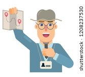 tourist guide with explanations ... | Shutterstock .eps vector #1208237530