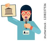 tourist guide with explanations ... | Shutterstock .eps vector #1208237536