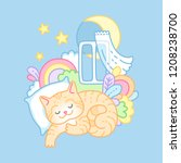 red kitty sweetly sleeping and... | Shutterstock .eps vector #1208238700