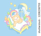red kitty sweetly sleeping and... | Shutterstock .eps vector #1208238703
