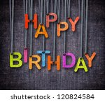 happy birthday hanging by rope... | Shutterstock . vector #120824584
