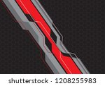 abstract red grey line circuit... | Shutterstock .eps vector #1208255983