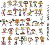 set of doodle children | Shutterstock .eps vector #120825778