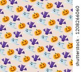 halloween pattern with bats ... | Shutterstock . vector #1208266060